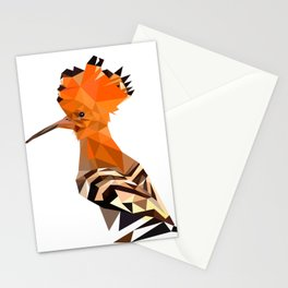 Bird artwork hoopoe geometric, Orange and brown Stationery Cards