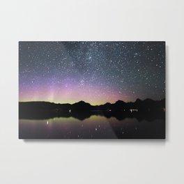 northern lights over lake mcdonald Metal Print