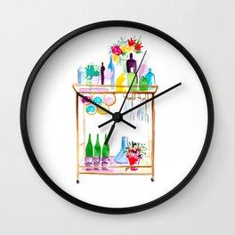Watercolor Bar Cart no 1 Wall Clock