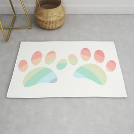 Pastel Color Rainbow Dog Paw Prints Rug