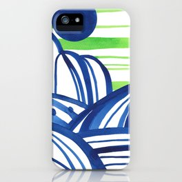 Lime and blue abstract landscape iPhone Case