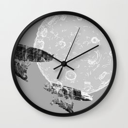 Around the Moon Grey Textured Version 1 Wall Clock