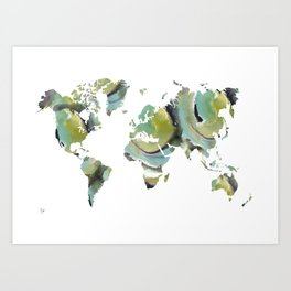 Watercolor World Map (blue/olive/black) Art Print