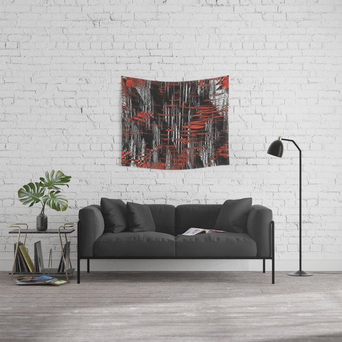 Red and Black Modern Art Wall Tapestry
