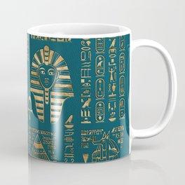 Egyptian hieroglyphs and deities - Gold on teal Coffee Mug