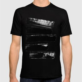 Stripes Black & White Minimalist Abstract Mid century Ink Art Dark Brush Strokes T-shirt