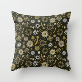 christmas pattern with stars and mandala on black and gold Throw Pillow