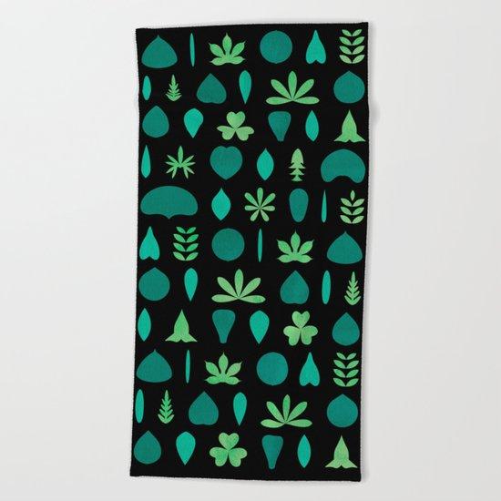 Leaf Shapes and Arrangements Pattern Dark Beach Towel