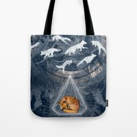 orange Tote Bags featuring GHOSTS  by Sandra Dieckmann