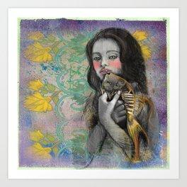 One wish Goldfish Art Print