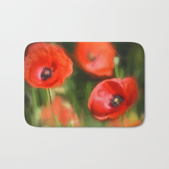 Warmth- Floral Flower Poppies in love- Poppy flowers #Society6 Bath Mat