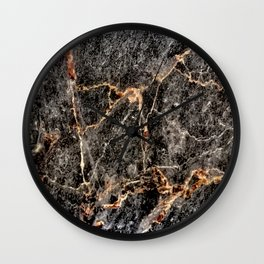 Luxurious Charcoal Black and Rose Gold Vein Marble Wall Clock
