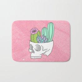 Succulent cactus garden flower pastel skull Bath Mat