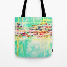 futuristic world in turquoise Tote Bag