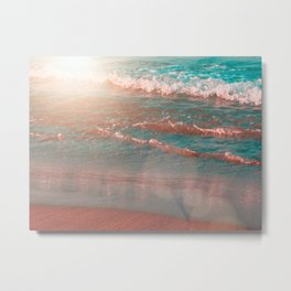 Waves Crashing on Beach in Crete, Greece Metal Print