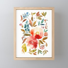 Red Turquoise Teal Floral Watercolor Framed Mini Art Print