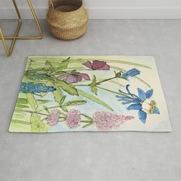 Columbine Garden Flower Watercolor Rug