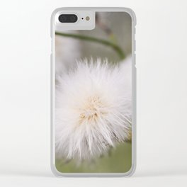 White fluffy balls. Clear iPhone Case