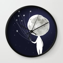 Moonhead in the stars Wall Clock