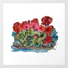 Red Geraniums painting Art Print
