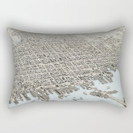 Vintage Pictorial Map of New Bedford MA (1876) Rectangular Pillow