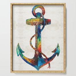 Nautical Anchor Art - Anchors Aweigh - By Sharon Cummings Serving Tray