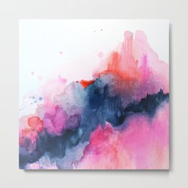 Abstract watercolor Orange Pink Metal Print