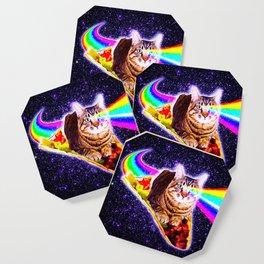 Rainbow Laser Eyes Galaxy Cat Riding Taco Coaster