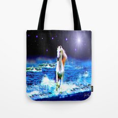 White Horse on the Starry Beach Tote Bag