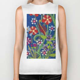 Starry Floral Felted Wool, Blue Biker Tank