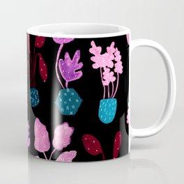 Painted Postmodern Potted Plants in Black Coffee Mug