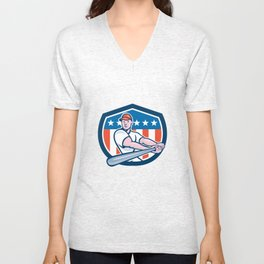 American Baseball Player Batting Shield Cartoon Unisex V-Neck