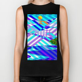 Kentucky Mountains and Lake in Winter Quilt Abstract Biker Tank