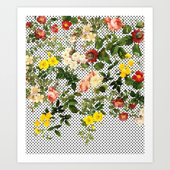 Points and Flowers Pattern Art Print