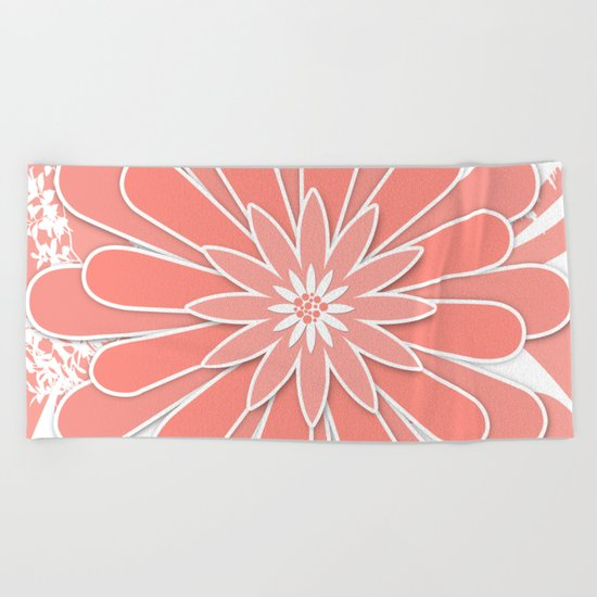 Coral flower . 2 Beach Towel