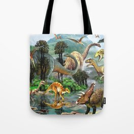 Jurassic dinosaurs drink in the river Tote Bag
