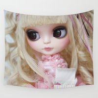 lolita Wall Tapestries featuring Erregiro Blythe Custom Doll Japanese Lolita Girl Kumiko by Erregiro