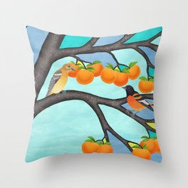 B. orioles in the stained glass tree Throw Pillow