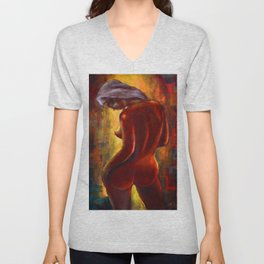 The Girl from Monmartre in the nude portrait painting by Hermann Bergmann Unisex V-Neck