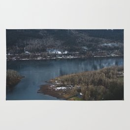 Dock in the Columbia River Gorge Rug