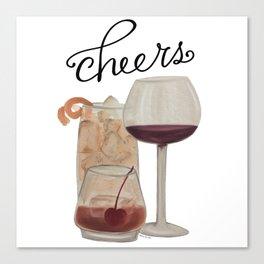 Cheers - Dark Drinks Canvas Print