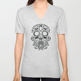 Day of the Dead Skull - Hearts Unisex V-Neck