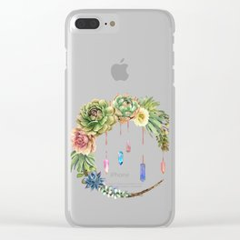 Crystal Crescent Moon With Lovely Succulents Clear iPhone Case