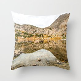 Crystal Clear Lake // Rustic Mountain Gray Sky and Autumn Colors Throw Pillow