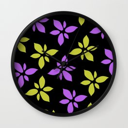 Illustration of flowers(black background) Wall Clock