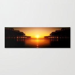 Pier Mirrored Sunset Canvas Print