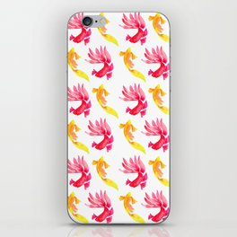 Tropical Fish Pattern (red and yellow palette) iPhone Skin