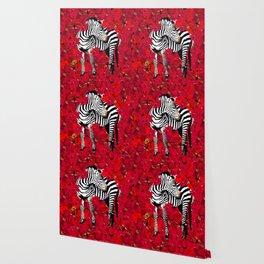 ZEBRA AND FLOWERS Wallpaper