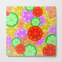FRUITY CITRUS PATTERN BIG BOLD ORANGES LEMONS AND PINK GRAPEFRUIT WITH LIMES Metal Print