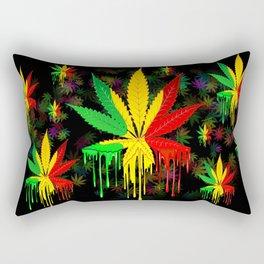 Marijuana Leaf Rasta Colors Dripping Paint Rectangular Pillow